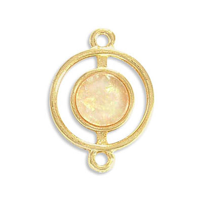 Connector, synthetic iridescent white shell, 25mm, round, zamak (zinc alloy), gold plate