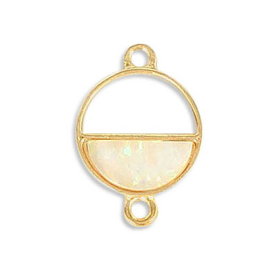 Connector, synthetic iridescent white shell, 16mm, round, zamak (zinc alloy), gold plate