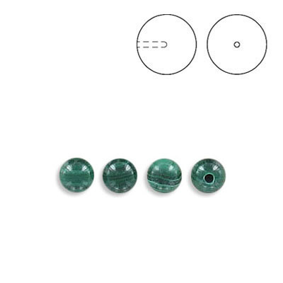 Semi-precious round beads, 4mm, half drilled, malachite, approx. hole size 0.90mm