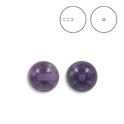 Semi-precious round beads, 8mm, half drilled, approx. hole size 1.10mm, amethyst