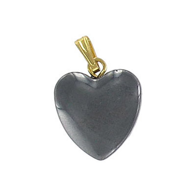 Gemstone pendant, heart shaped, 15x18mm, hematite with bail