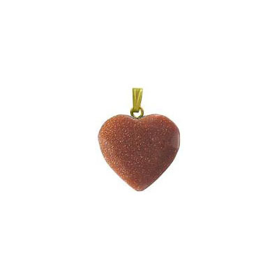 Gemstone pendant, 18mm, heart, goldstone, gold bail
