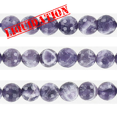Semi-precious faceted beads, 8mm, approx. hole size 1-1.20mm, chevron amethyst, 6 inch strand