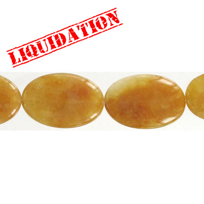Semi-precious beads, 20x30mm, oval, yellow jade, 8 inch strand