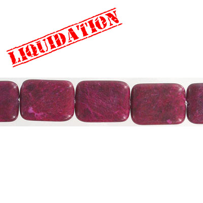 Semi-precious beads, 15x20mm, rectangle, red jade, 8 inch strand