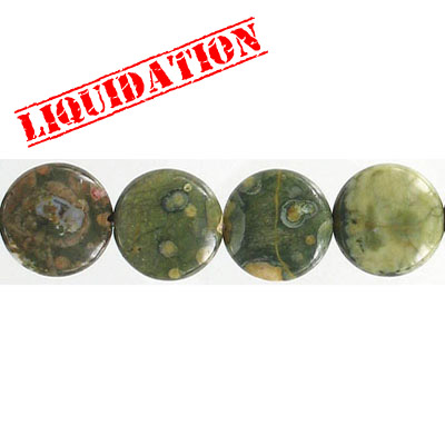 Semi-precious beads, 14mm, disc, rhyolite, 8 inch strand