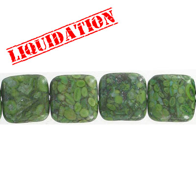 Semi-precious beads, 14mm, square, green fossil, dyed, 8 inch strand