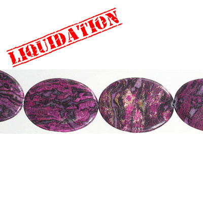 Semi-precious beads, 25x30mm, oval, purple agate, dyed, 8 inch strand