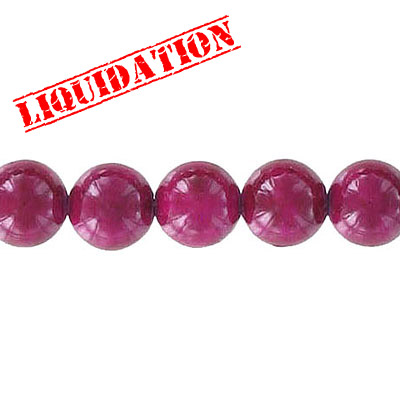 Fossil beads, 8mm, burgundy, 8 inch strand