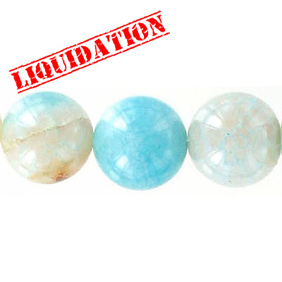 Semi-precious round beads, 14mm, crackled aqua agate, 6 inch strand