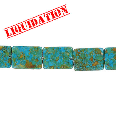 Semi-precious beads, 15x20mm, rectangle, magnesite, 8 inch strand