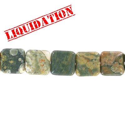 Semi-precious beads, 16mm, diamond shape, rainforest jasper (rhyolite), 6 inch strand