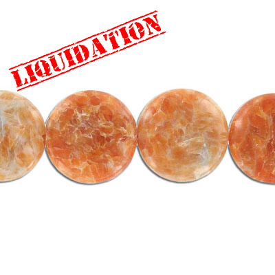 Semi-precious beads, 25mm, disk, Brazilian orange calcite, 8 inch strand