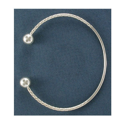 Sterling silver bangle bracelet, 2mm wire with 9mm ends