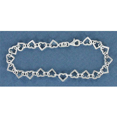 Sterling silver bracelet, 7mm hearts, 7.5 inch