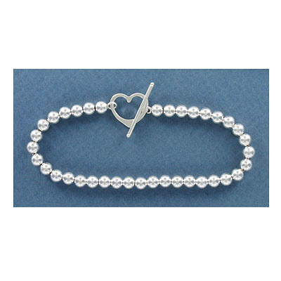 Sterling silver bracelet, 5mm beads, heart shaped toggle clasp, 7.5 inch