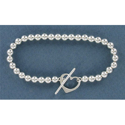 Sterling silver bracelet, 11mm heart shaped toggle clasp, 7 inch