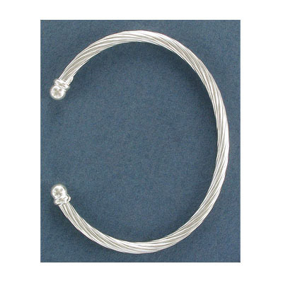 Sterling silver bangle bracelet, 4mm twisted wire with 5mm ends