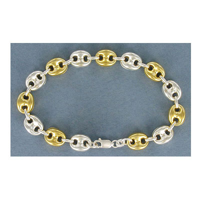 Sterling silver marina bracelet, 7.5 inch, .925, silver-gold 2 tone
