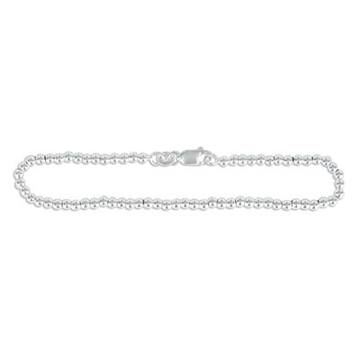 Sterling silver bead bracelet, 3mm, 7.5 inch, .925