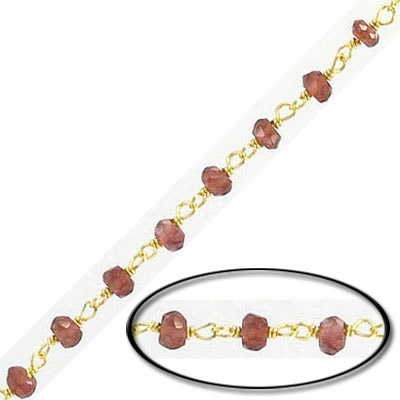 Sterling silver chain with 3mm faceted garnet beads, gold plate