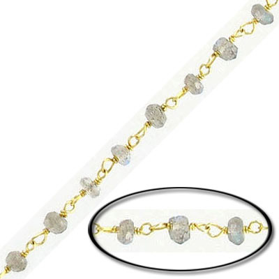 Sterling silver chain with 3mm faceted labradorite beads, gold plate