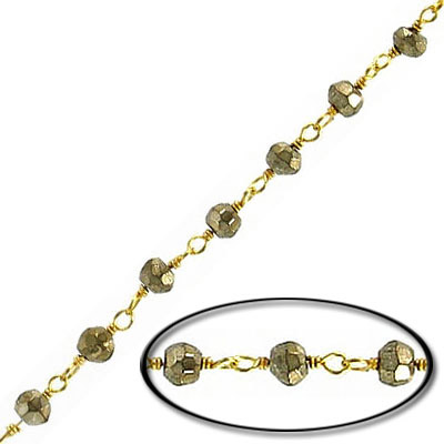 Sterling silver chain, with 3mm faceted pyrite bead, gold plate