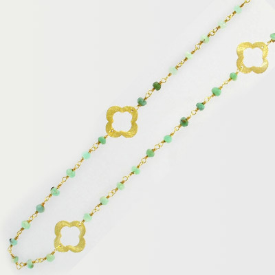 Sterling silver chain, link chain, clovers and 3mm faceted aventurine beads, gold plate