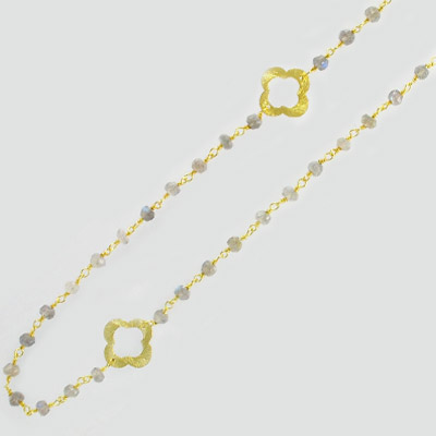 Sterling silver chain, link chain, clovers and 3mm faceted labradorite beads, gold plate