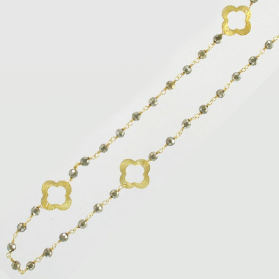 Sterling silver chain, link chain, clovers and 3mm faceted pyrite beads, gold plate