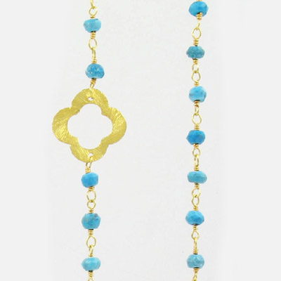 Sterling silver chain, link chain, clovers and 3mm faceted turquoise beads, gold plate