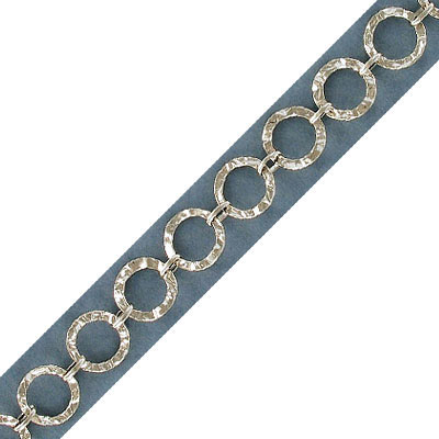 Round link chain, 11.5mm, sterling silver, rhodium plate