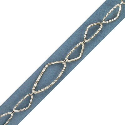 Link chain, 38x16mm large link, 22x10mm small link, sterling silver, rhodium plate