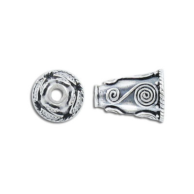 Sterling silver cord end, Bali, 16x11mm, (id 8mm) .925