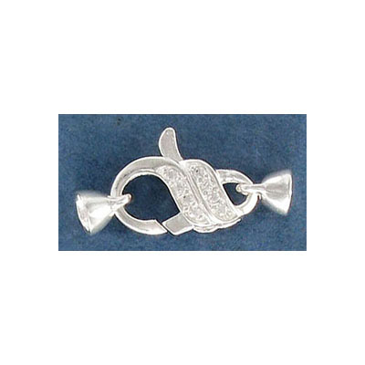 Sterling silver lobster clasp, 16x10mm, with crystals