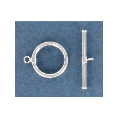 Toggle clasp, 15mm, sterling silver