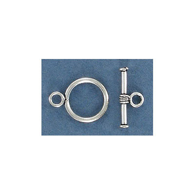 Sterling silver toggle clasp, 12mm, Bali style