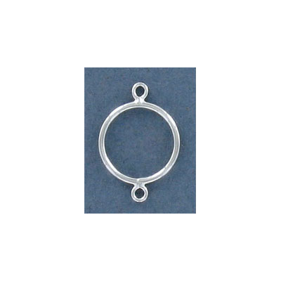 Sterling silver connector, 14mm, round
