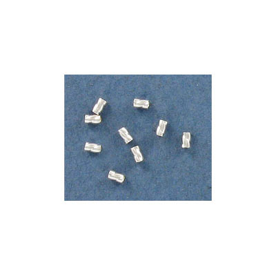 Sterling silver connector, 2x3mm, crimp bead, .925