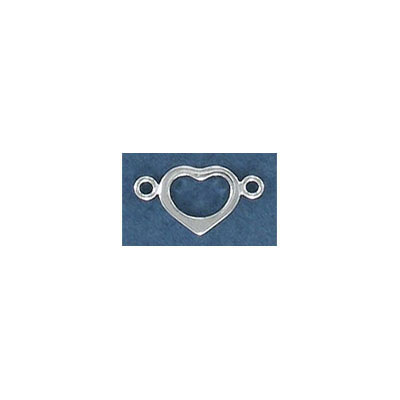Sterling silver connector, 14mm, heart