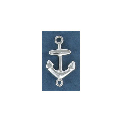 Sterling silver connector, 17mm, anchor