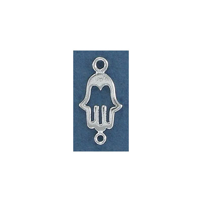 Sterling silver connector, 18mm, hamsa