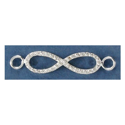 Sterling silver connector, 40mm, infinity, with crystals