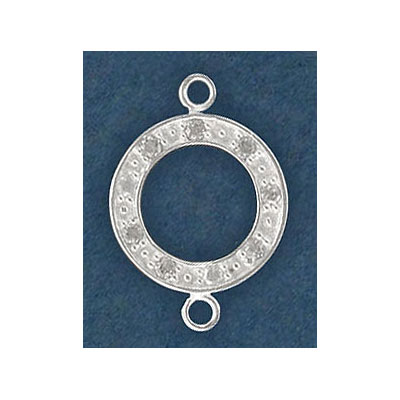 Sterling silver connector, 15mm w/cz stones
