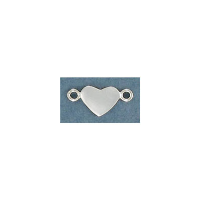 Sterling silver connector, 10x7mm, heart