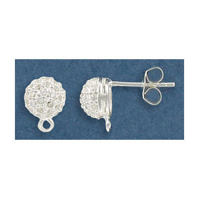 Sterling silver ear posts with crystals