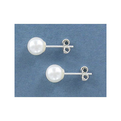 Sterling silver earpost, with 7mm fresh water pearl, .925