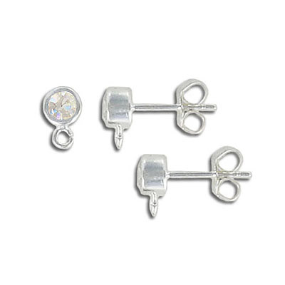 Sterling silver ear posts with loop, cubic zirconia