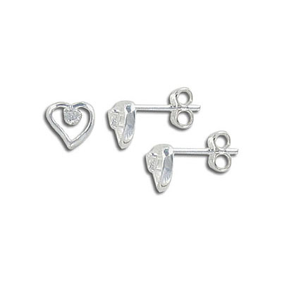Sterling silver ear posts, .925, 7mm heart with cubic zirconia