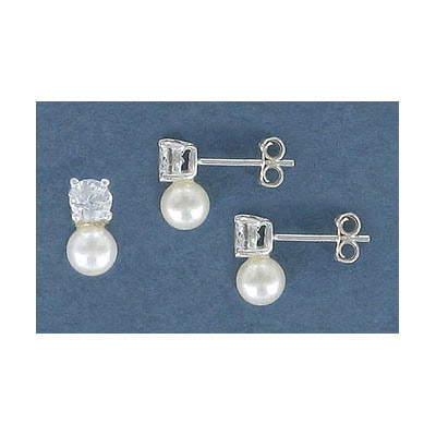 Sterling silver earpost, with 4mm crystal and 5mm fresh water pearl, .925